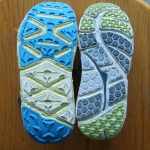 Sole of Mafate on Left Bondi B on Right both size 10